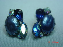 Vintage Blue Rhinestone Clip Earrings