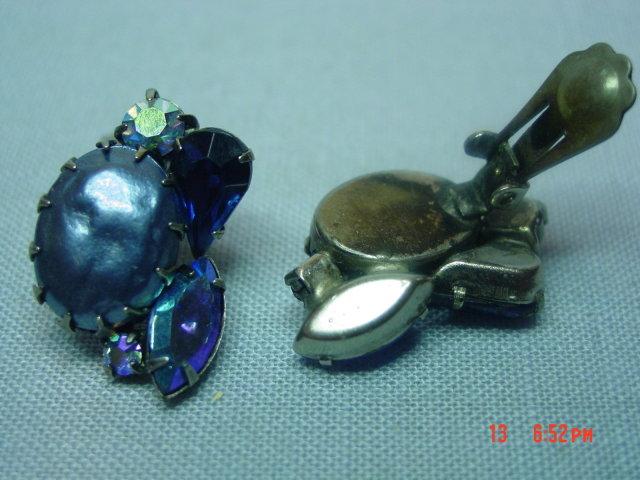 Vintage Blue Rhinestone Clip Earrings
