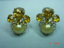 Vintage Orange Rhinestone Clip Earrings