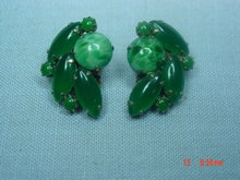 Jade Green Glass Clip Earrings