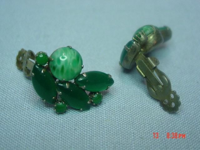 Jade Green Glass Clip Earrings