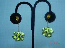 Yellow Enamel Flower Dangle Clip Earrings