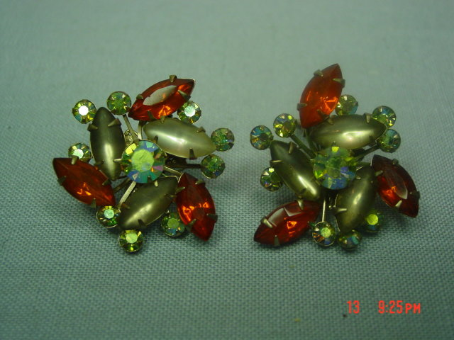 Orange, Opaque and AB Rhinestone Clip Earrings