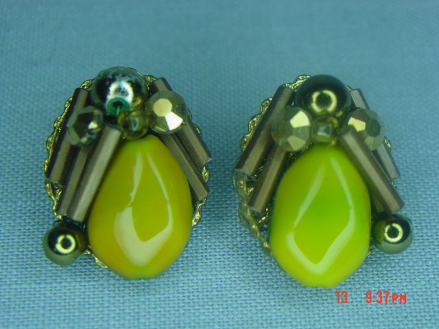 Yellow Art Glass & Gold Bead Clip Earrings