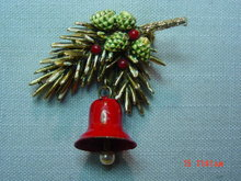 Vintage ART Pine Branch Pine Cone Bell Pin