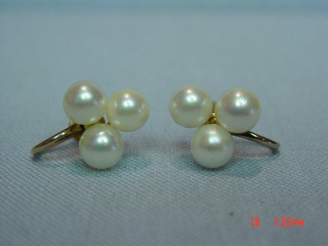 14K Cultured Pearls Screwback Earrings