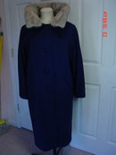 Vintage Fashionbilt Ladies Navy Blue Wool Coat with Silver Mink Collar