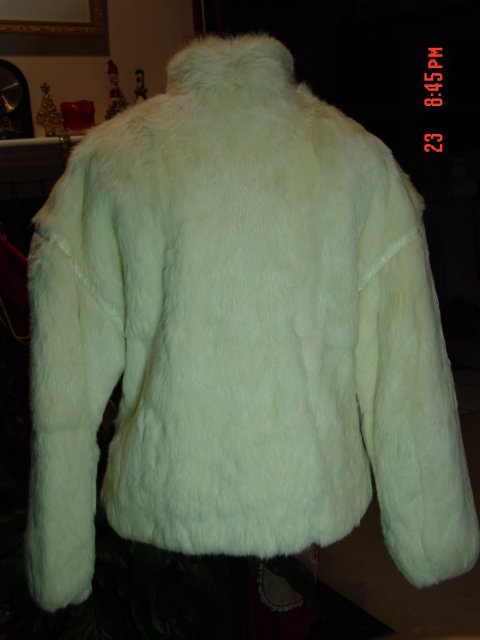 White Rabbit Fur Jacket Size Medium