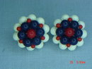 Red, White & Blue Bead Clip Earrings