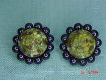Purple Bead Clip Earrings
