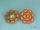Coral Colored Bead Clip Earrings