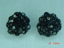 Black Glass Bead Clip Earrings
