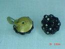 Black Glass Bead Clip Earrings
