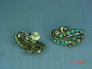 Lisner Gold Filled Blue Rhinestone Screwback Earrings