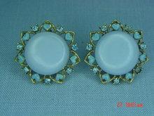 Baby Blue Thermoset & Rhinestone Clip Earrings