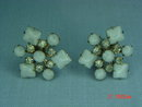 Opaque White & Clear Rhinestone Snowflake Clip Earrings