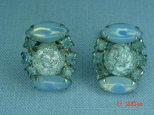 Baby Blue Rhinestone Clip Earrings