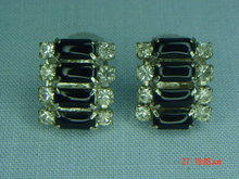 Black Glass & Clear Rhinestone Clip Earrings