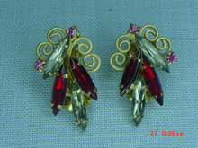 Ruby Red & Smoky Clear Rhinestone Clip Earrings