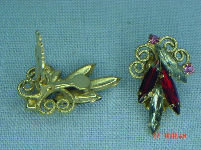 Ruby Red & Smoky Clear Rhinestone Clip Earrings