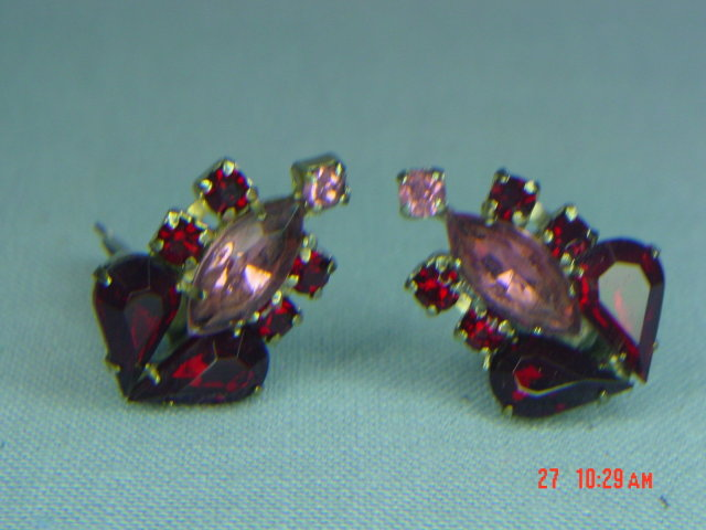 Ruby Red & Pink Rhinestone Clip Earrings