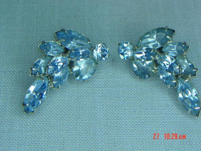 Light Blue Rhinestone Clip Earrings