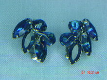 Dark Blue Rhinestone Clip Earrings