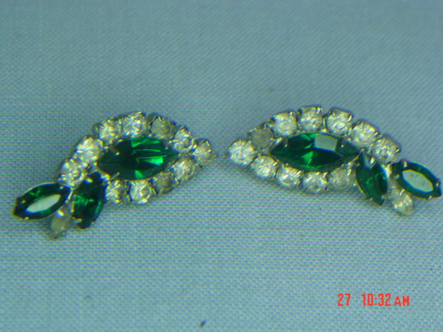 Green & Clear Rhinestone Clip Earrings