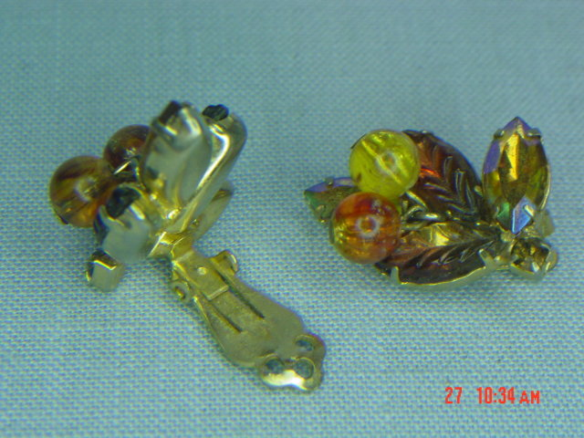 Autumn Colored Leaf Rhinestone Clip Earrings