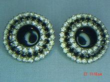 Vintage Black & Clear Rhinestone Clip Earrings