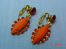 Orange Rhinestone Clip Earrings