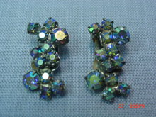 Aurora Borealis Rhinestone Clip Earrings