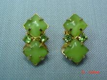 Green Rhinestone Clip Earrings