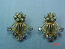 Aurora Borealis Rhinestone Fan Shaped Clip Earrings