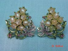 Vintage Pink Grapes Thermoset Clip Earrings