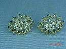 Goldtone Rhinestone Clip Earrings Signed Trifari
