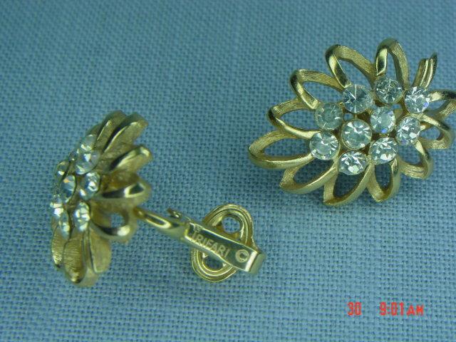 Goldtone Rhinestone Clip Earrings Signed Trifari