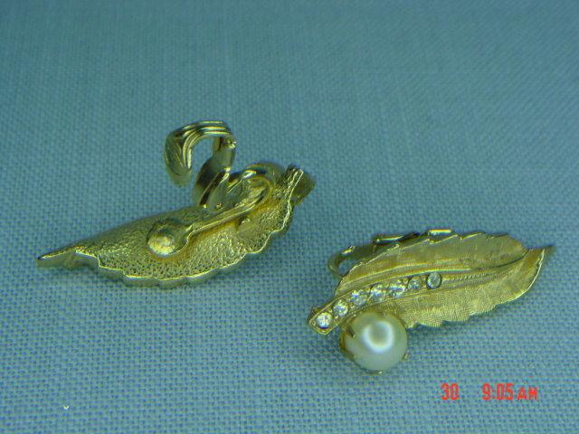 Goldtone Leaf Real Pearl & Rhinestone Clip Earrings