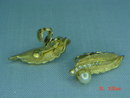 Goldtone Leaf Cultured Pearl & Rhinestone Clip Earrings