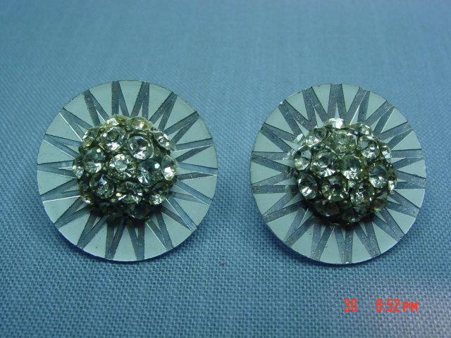 Germany Silver Disc Rhinestone Clip Earrings