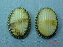 Vintage Oval Brass Clip Earrings