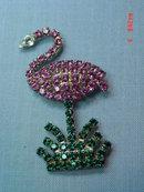 Vintage Swarovski Crystal Pink Flamingo Pin