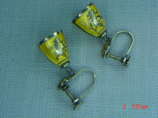 Sterling Silver Siam Niello Yellow Enamel Bell Screwback Earrings