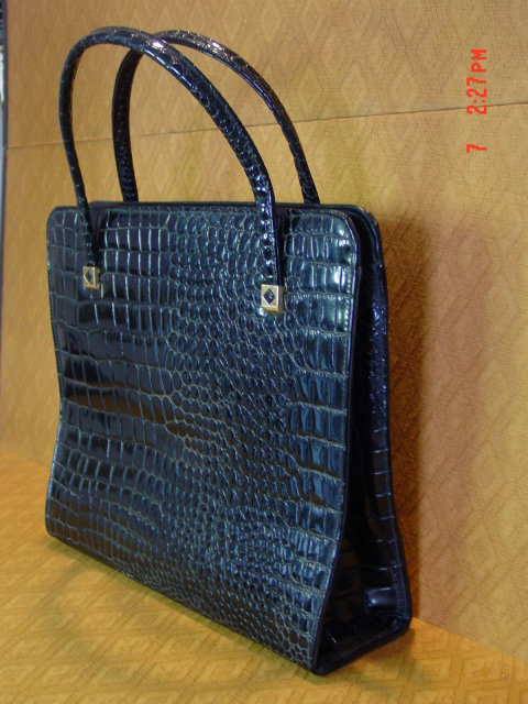 Vintage Large JR Florida USA Black Vinyl Alligator Handbag
