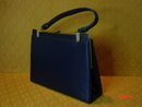 Vintage Navy Blue Vinyl Handbag Purse