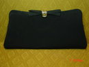 Vintage Black Rayon Evening Bag Clutch