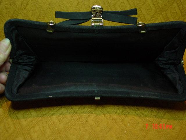 Vintage Black Rayon Evening Bag Clutch