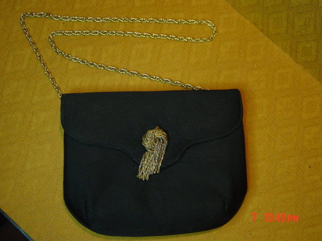 Vintage Lewis Black Rayon Evening Bag Clutch