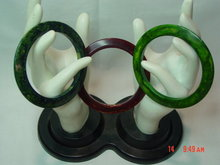 Set of 3 Vintage Green & Brown Marble Bakelite Bangle Bracelets