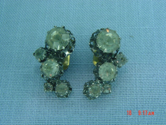 Austrian Clear Rhinestone Clip Earrings